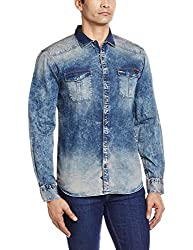 Locomotive Men's Casual Shirt (15110001457547_LMSH010379_Large_Blue)