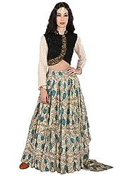 Beige Pure Linen Asymmetric Skirt With Hand Painted Kalamkari