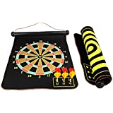 BlingKingdom - 15 Safety Dart Board Game Roll Up Two Sided Reversible Bullseye Target Magnetic Dartboard With...