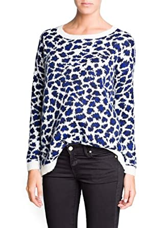 'Mango Women's Leopard Mohair Wool-Blend Sweater, Azul, S