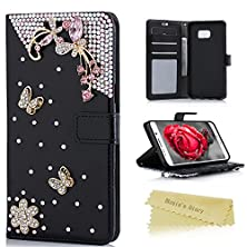 buy S6 Edge Plus Wallet Case - Mavis'S Diary 3D Handmade Golden Butterfly Flower With Bling Pink Diamonds Black Pu Leather Flip Cover With Magnetic Clasp Card Holder Case For Samsung Galaxy S6 Edge Plus
