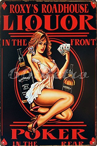 Whiskey Liquor in the Front Poker Pin up Girl Retro Vintage Tin Sign 12