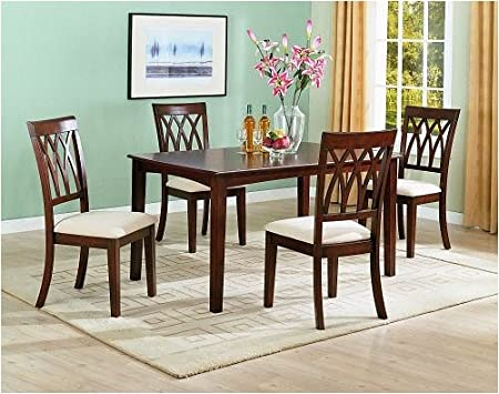 5pc Contemporary Style Cherry Finish Dining Table & Chair Set