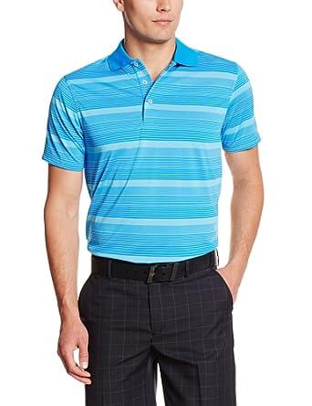 PGA TOUR Men's Short Sleeve Multi Stripe Performance Polo, Electric Blue Lemonade, X-Large