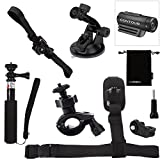 Luxebell 6-in-1 Accessories Kit for Contour Roam Roam2 Roam3 +2 +Plus Hd 1080p Waterproof Video Camera, Helmet Mount / Bike Handlebar Mount / Monopod Pole / Shoulder Strap / Suction Cup