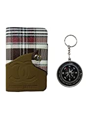 Apki Needs Long Brown Mens Wallet & Beautiful Compass Keychain Combo