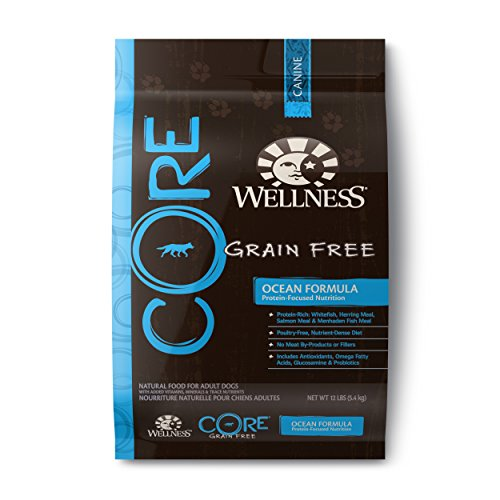 Wellness CORE Natural Grain Free Dry Dog Food, Ocean Whitefish, Herring & Salmon Recipe, 12-Pound Bag