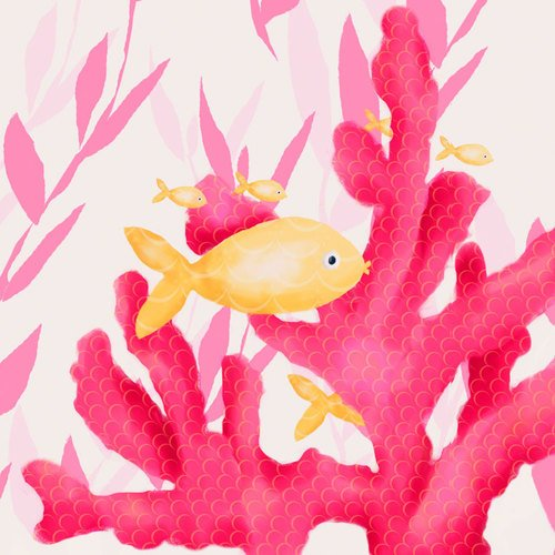 Oopsy Daisy Pink Coral And Little Fish Stretched Canvas Wall Art By Meghann O'Hara, 10 By 10-Inch
