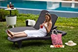 Keter Pacific Outdoor Adjustable 2 Sun Lounger Chairs Furniture Set - Graphite