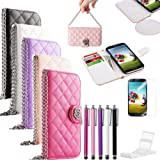 Pandamimi UlAK(TM) Hot Sale Bling PU Leather Flip Wallet Cover Case For Samsung Galaxy S4 SIV I9500 With Screen...
