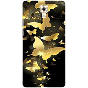 Casotec Golden Butterfly Pattern Design 3D Printed Hard Back Case Cover for Gionee M6 Plus