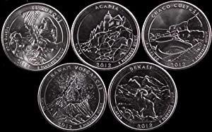 "Complete 2012 San Francisco ""S"" Mint Uncirculated National Parks Quarter Set BU 2012 S (5 Uncirculated Quarters)"