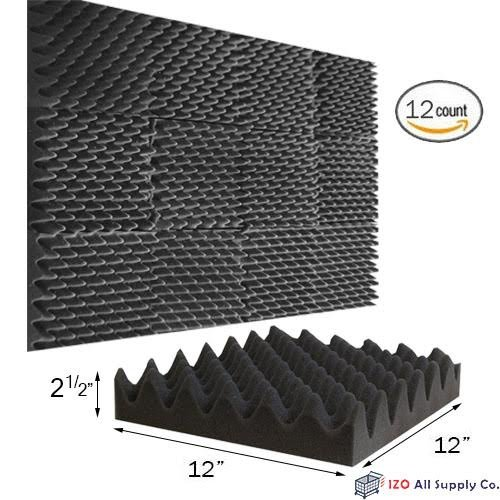 "(12 Pk) 2.5""x12""x12"" Soundproofing Foam Acoustic Eggcrate Tiles Studio Foam Sound Wedges"