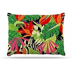 "Kess InHouse Jacqueline Milton ""Tropicana - Hot"" Orange Green Fleece Dog Bed, 30 by 20"""