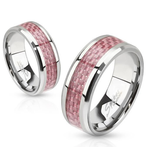 STR-0070 Stainless Steel Pink Carbon Fiber Inlay Band Ring (9) (Carbon Fiber Stainless Steel Ring compare prices)