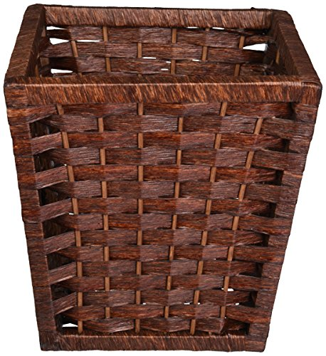 Household Essentials Paper Rope Waste Basket, Dark Brown Stain (Wicker Garbage Can compare prices)