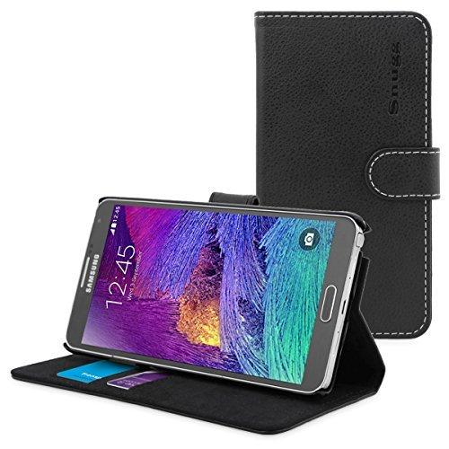 Custodia per Galaxy Note 4, Snugg™ - Custodia Stile Libro in Ecopelle Nera con Garanzia a Vita per Samsung Galaxy Note 4