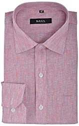 Basil Men's Formal Shirt (BA310LS13FSF, Pink, 40)