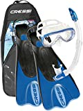Cressi Snorkel Set and Flippers - Snorkel Set and Fins Adult (Made in Italy)