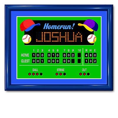 Olive Kids Game On Baseball Scoreboard Large Framed Art- Gloss Navy Frame front-941609