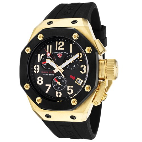 Swiss Legend Men's 10541-YG-01-BB Trimix Diver Collection Chronograph Black Rubber Watch