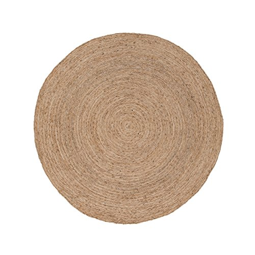 6' Almond Tan Halo Naturals Hand-Spun Solid Pattern Jute Round Area Throw Rug