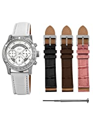JBW-Just Bling Women's JB-6237-C.set Venus Silver White Designer Leather Diamond Watch with Interchangeable Band Set