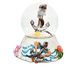 Puzzled Anchor Resin Stone Finish Snow Globe - Boats Collection - 65 MM - Unique Elegant Gift and Souvenir - Item #9365