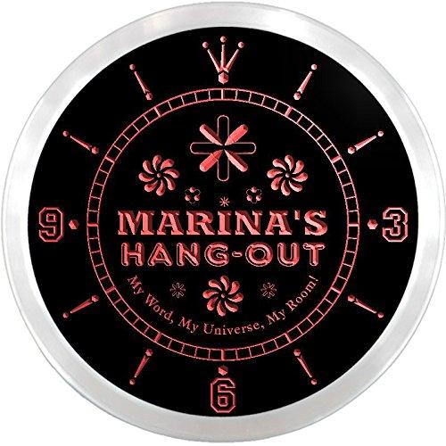 Ncpq0495-R Marina'S Hang Out Girl Princess Room Night Light Neon Sign Led Wall Clock