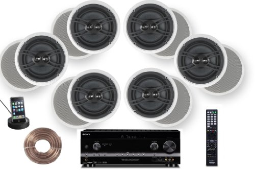 "Sony Hd Digital Cinematic Sound 770 Watts 7.1 Channel 3D A/V Receiver With Iphone & Ipod Dock + Yamaha Natural Sound Custom Install In-Ceiling 3-Way 120 Watts Speaker (Set Of 6) With Dual Tweeters & 8"" Woofer + 100Ft 16 Awg Speaker Wire"