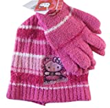 Sanrio Fuschia Hula Girl Hello Kitty Winter Set (2pc) - Hello Kitty Beanie and Mittens