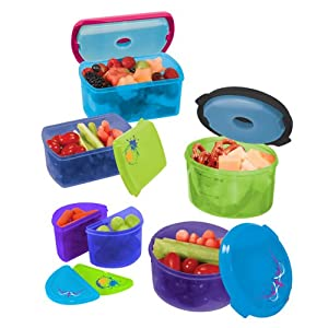 Fit & Fresh Kids' Reusable Lunch Container Kit with Ice Packs, 14-Piece Set, BPA-Free