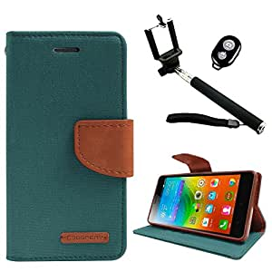 DMG Canvas Diary Wallet Folio Book Cover for Lenovo K3 Note (Green) + Handheld Selfie Monopod with Bluetooth Clicker