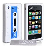 White And Blue Retro Cassette Tape Silicone Gel Case Cover For The Apple iPhone 3 / 3G / 3GS With Screen Protector Filmby Yousave