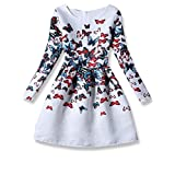 21KIDS Creative Art Colorful Print Summer Girls Casual Dress Size 6-12 (5, Long Sleeve-Butterfly)