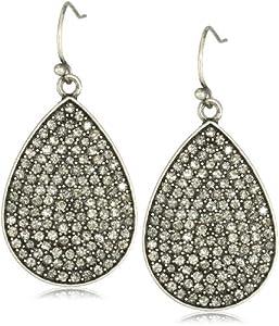 Flying Lizard Designs Oxidized Silver Cubic Zirconia Pave Teardrop Earrings