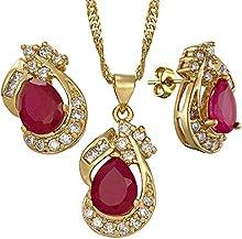 La moda de joyer?ªa de oro amarillo de 18 quilates plateado joyer?ªa fija el circonio c?²bico Pearschliff rojo rub?ª