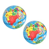 Inflatable World Globe Beach Ball Toy Geography With Clear Illustrations Pack Of 2