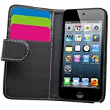 Samrick Executive Specially Designed Leather Book Wallet Case with Credit Card/Business Card Holder for Apple iPod Touch 5/5G - Black