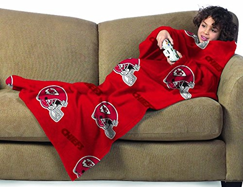 NFL Kansas City Chiefs Youth Size Comfy Throw Blanket with Sleeves