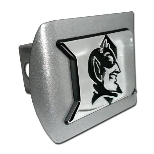 Duke University Blue Devils Logo Brushed Silver & Chrome D with Devil Emblem NCAA College Sports Metal Trailer Hitch Cover Fits 2 Inch Auto Car Truck Receiver