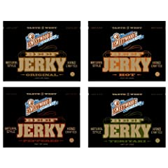 Sweetwood Jerky 4-Bag Sampler (2-Ounces Each: Original, Hot, Peppered, Teriyaki) by Sweetwood Jerky Co.
