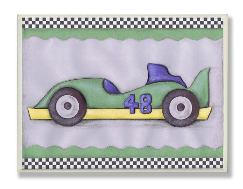 The Kids Room by Stupell #48 Green Race Car Oversized Rectangle Wall Plaque