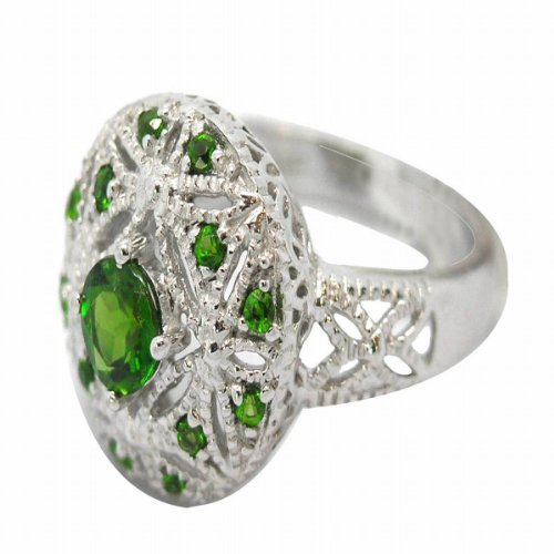 Sterling Silver Diopside Ring Size 7