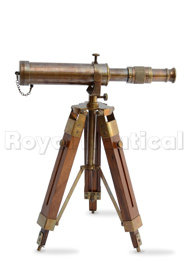 Nautical Brass Antique Telescope Spyglass With Wooden Stand Home Decor Gift 4