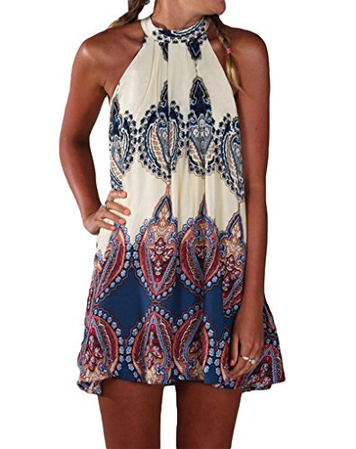 [PAKULA Women's Sleeveless Vintage Printed Ethnic Style Casual Dress, Blue, X-Large] (Hippie Dress)