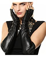 Warmen Ladies Opera Long Soft Nappa Leather Half Finger / Fingerless Gloves