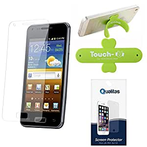 Qualitas Pack of 12 Matte Screen Protector for HTC Desire 620G + Touch U Mobile Stand