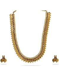 Zeneme Long Traditional Maharani Red And Green Temple Coin Necklace Set / Jewellery Set With Earrings For Women