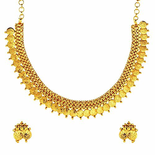 the-jewelbox-womens-lakshmi-gold-coin-temple-antique-traditonal-necklace-earrings-set